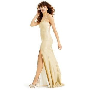 B Darlin Glitter-Knit Gown with Mesh Back